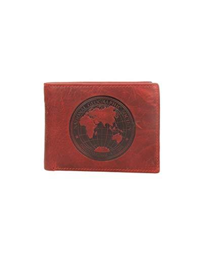 Billetero piel hombre monedero mapamundi (Rojo)