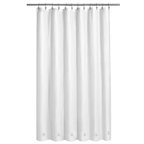"""Barossa Design White Shower Curtain Liner with 6 Magnets - Waterproof PEVA Shower Liner for Bath Tub, 72"""" x 72"""" Standard Size, PVC Free & Metal Grommets - White, 72x72"""