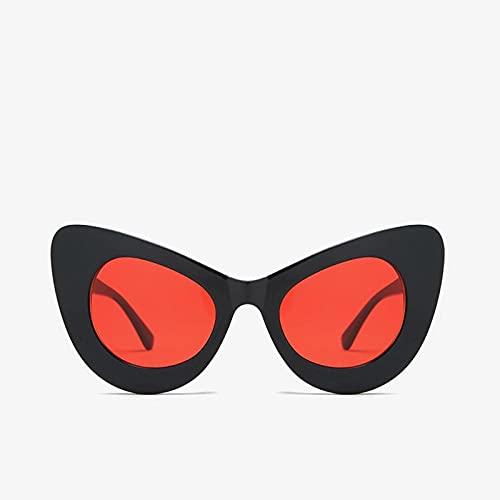 YHKF Gafas De Sol De Gran Tamaño con Forma De Ojo De Gato Vintage para Mujer A La Moda, Gafas De Sol Grandes De Diseñador para Mujer, Gafas De Sol Uv400-Black_Red