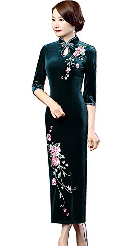 Shanghai Story Peacock Floral Embroidery Velvet Long Cheongsam Qipao Dress 6 Gr