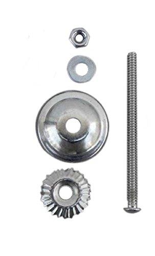 Silver Chrome Knob Bolt Fittings for Ceramic & Glass Pulls, Knobs, 3' Bolt, Washer, Nut, Metal Flower