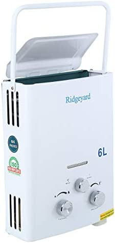 Ridgeyard 6L 1 6 GPM LPG Propane Gas Portable Tankless Instant Hot Water Heater Shower Head product image