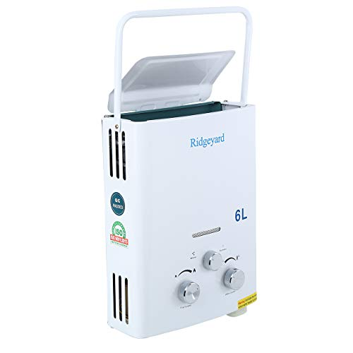 Ridgeyard 6L/1.6 GPM LPG Propane Gas Portable Tankless Instant Hot Water Heater + Shower Head Outdoor Shower Use for Small Homes RV