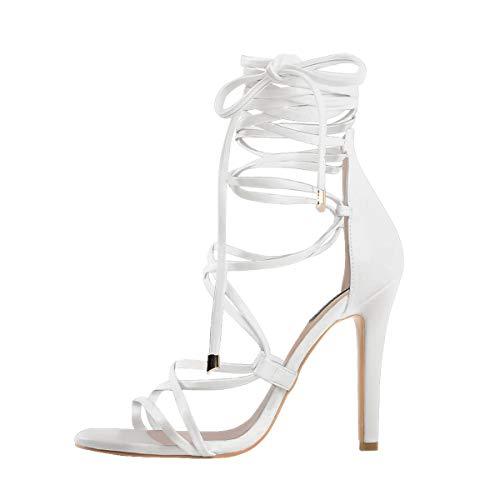 Only maker Damen Sandaletten Riemchensandalen Römische Sandalen Stiletto Absatz Lace up High Heels Weiß 45 EU