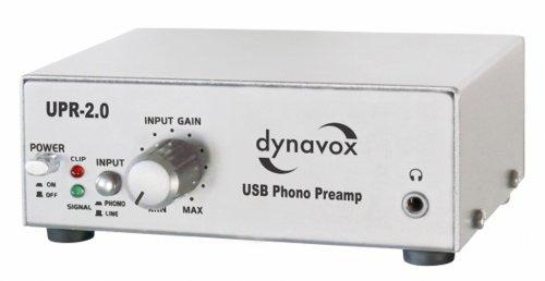 Dynavox Phono-Vorverstärker UPR-2.0, für Plattenspieler mit MM-Abtastsystemen, USB-Ausgang zum Digitalisieren von Vinyl-Platten, Silber