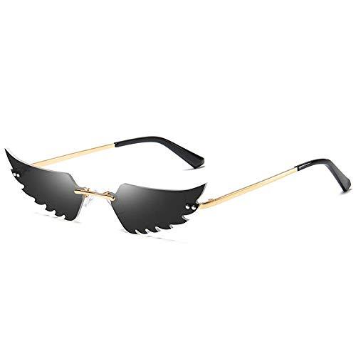 Modische Sonnenbrille Vintage Steampunk Sonnenbrille Frauen Spiegel Retro Randlose Sonnenbrille Männer Retro Kleine Sonnenbrille Wing Shaped Eyewear Uv400 1