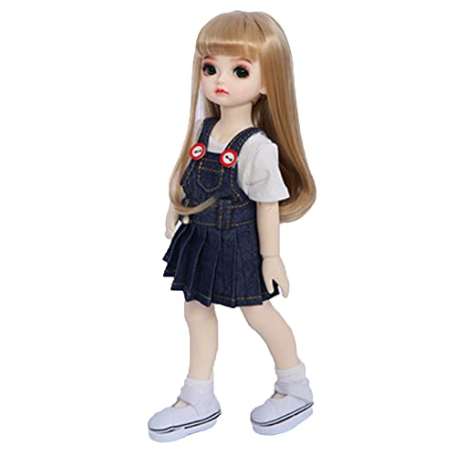 1/6 BJD SD Doll BJD Pop 1026Cm Ball Joint Doll Full Set of Clothes Shoes Pruik with Makeup Blauw Spijkerrok Grote Ogen Lovely Girl Toy Gift