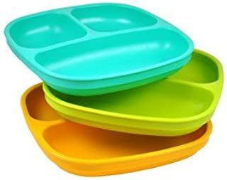 Re-Play Recycled 3-Count Made in USA Divided Toddler Plastic Plates: Aqua, Green, Sunny Yellow(Aqua Asst.) Heavy Duty, Durable with Deep Sides