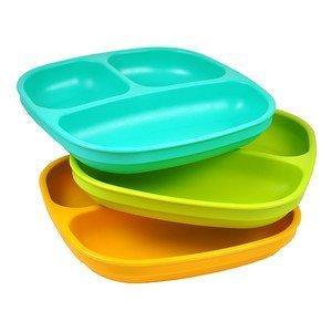 Re-Play Platos divididos (juego de 3 unidades), color verde, naranja y aguamarina