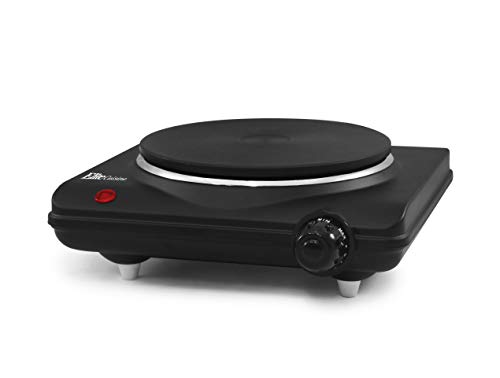 Elite Cuisine ESB-301BF Single Electric Flat Cast Iron Heating Plate Burner Power Indicator Light, Non-Skid Feet, Easy To Clean, 1000 Watts, Black