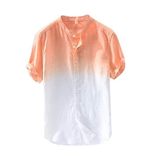 Leinen T- Shirt für Herren/Skxinn Männer Freizeithemd Sommer Kurzarm Gefärbt Farbverlauf Hemd Casual Regular Fit Cool & Dünn Atmungsaktiv Oberteile M-3XL Ausverkauf(Orange-2,XXX-Large)