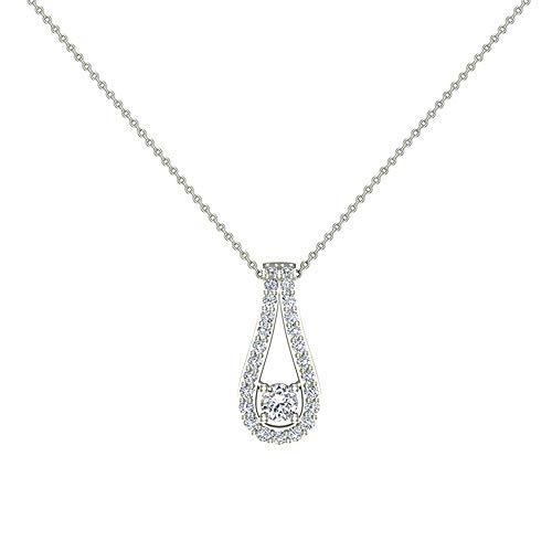 "Teardrop Halo Diamond Necklaces Pendant 14K White Gold 20"" chain 0.46 carat tw (VS Grade)"