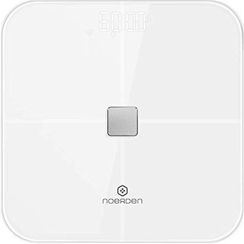 NOERDEN SENSORI - Blanc - Balance connectée - Wi-Fi ou Bluetooth, Rythme cardiaque, Ecran LED et Technologie de bio-impédancemétrie