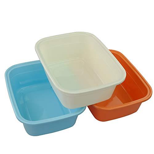 Fosly 3 Stück Farbig Rechteckig Kunststoff Schüssel, Waschschüssel Plastik Spülschüssel
