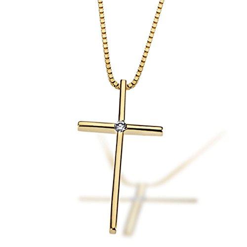 Goldmaid Halskette 585 Gelbgold Kreuz 1 Lupenreiner Brillant 0,02 ct. Kettenanhänger Kreuzkette Diamantkette
