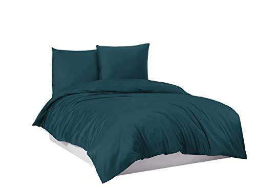 Bettwäsche Bettgarnitur Bettbezug 100prozent Baumwolle 135x200 155x220 200x200, Farbe Bettwäsche:Petrol, Größe:200 x 220 cm