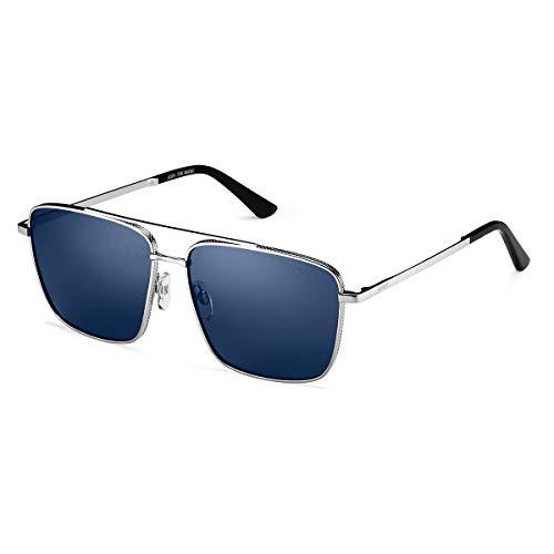 MVMT Navigator | Non-Polarized Women's & Men's Square Sunglasses | Silver Blue