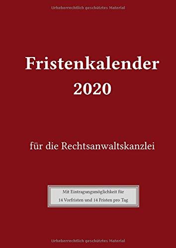 Fristenkalender 2020 für die Rechtsanwaltskanzlei: Cover in rot, mit Extra-Verjährungsseite