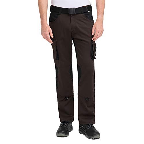 Pionier - Pantalones de trabajo | resistentes a los desgarros y a los rayos UV | Pantalones cargo con bolsillo para teléfono móvil y rodilleras | Artesanos marrón/negro 56