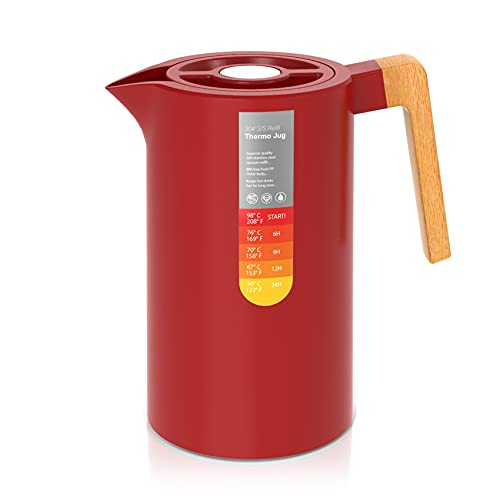 YUANJ Thermoskanne 1L, Stainless Steel 304, Vakuum Kaffeekanne mit Holzgriff, Edelstahl Doppelwandig Isolierkanne (Quick Press Verschluss, 12h heiß, 24h kalt) (Rot)