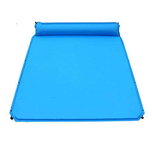 LIYANG Inflatable Beds Double Size Thick Automatic Inflatable Cushion Camping Outdoor Thick Automatic Inflatable Cushion Camping Mattress Inflatable Mat Compact (Color : Blue, Size : 190X160X5CM)