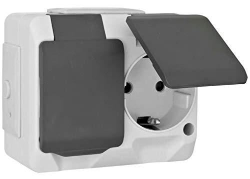 Nortic IP 44 AP - Interruptor de enchufe empotrado (para uso en exteriores)