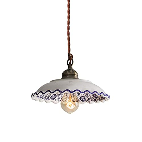 WEM Novelty Decorative Chandelier, Nordic Style Pendent Light Handmade Antique Ceramic Lampshade Pendent Lighting Retro Blue and White Porcelain Chandelier with Brass Surface Suitable for Rural Farmh