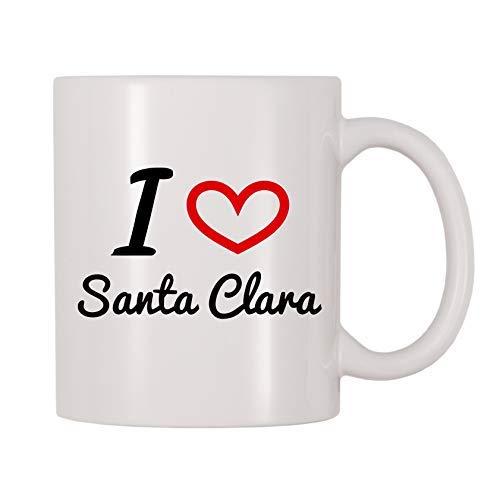Queen54ferna I Love Santa Clara - Taza de café de cerámica para Hombres, Mujeres, mamá, Padre, Maestro, Taza de Navidad, cumpleaños, jubilación, Regalos de graduación