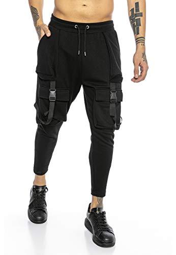 Redbridge Jogginghose für Herren Sweatpants Jogger Cargo Look Slim Fit Schwarz XL