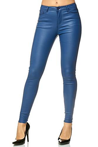EGOMAXX Damen Hose Leder Optik Kunstleder Skinny Stretch Röhre Biker, Farben:Blau, Größe:40