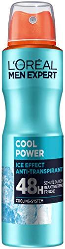 L'Oréal Men Expert Körperpflege, Ice Effekt Deospray für Männer mit integriertem Cooling-System für bis zu 48 Stunden Frische, Cool Power, 1 x 150 ml