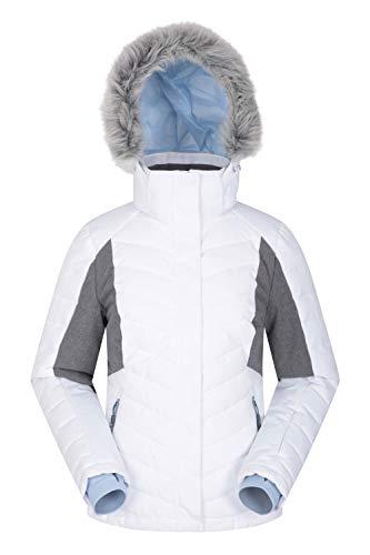 Mountain Warehouse Pyrenees Gepolsterte Skijacke für Damen - wasserdichte Winterjacke, atmungsaktiv, verstellbare Passform, abnehmbare Kapuze, Schneefang, Luftöffnungen Weiß 42