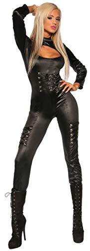 Mask Paradise heißer Overall im Wetlook mit sexy Schnürungen Gr. S-3XL, Catsuit Jumpsuit Einteiler Clubwear (900033 schwarz L/XL 15029)