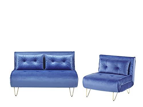 Beliani Conjunto de sofás Cama de Terciopelo Azul Marino VESTFOLD