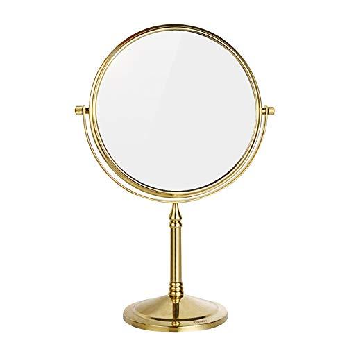 DOWRY Miroir Grossissant Grossissement 7x, Miroir Grossissant Pour Salle de Bain, Miroir de Salle de Bain Miroir Cosmétique Rond Doré, Miroir Sur Pied Chambre, Miroir de Maquillage Doré Ø20 CM X 7