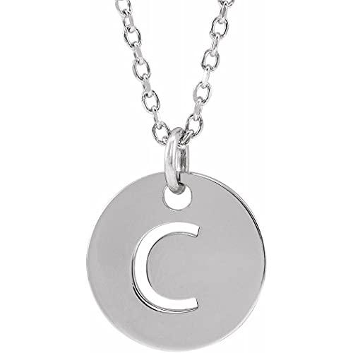 Collar colgante de oro blanco de 14 quilates con nombre de letra personalizada, monograma inicial C, 10 mm, 16 pulido, joyería para mujer – 46 centímetros