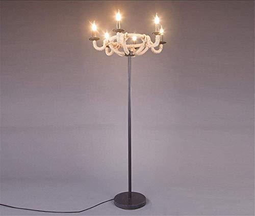 FMOGE Iluminación para El Hogar Lámpara De Pie De Cuerda De Muelle Náutico para El Hogar Moderno Luz De Suelo De Hierro Forjado