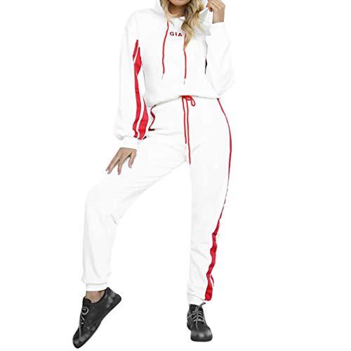 TUDUZ Damen Hausanzug Jogginganzug Jumpsuit Langarm Pullover Sportanzug Trainingsanzug Rundhals Sweatshirt Lang (S, Y-Weiß)