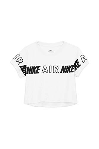 NIKE NSW Crop Air Taping Camiseta, Blanco, XS Unisex niños