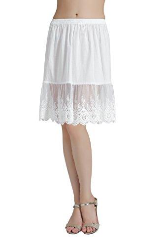 BEAUTELICATE Damen Unterrock 100% Baumwolle Vintage Kurz Halbrock Mit Spitze Stickerei Knielang Dirndl Petticoat, Elfenbein, L Für EUR (44-46)-60cm Länge