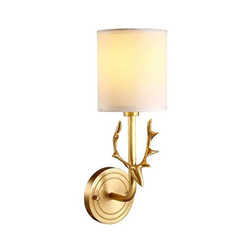 Pouluuo Plein de cuivre lampe de mur tête de cerf bois rétro lampe de restaurant restaurant simple salon chambre lampe de chevet miroir miroir avant/double tête 29 * 19 * 38 cm