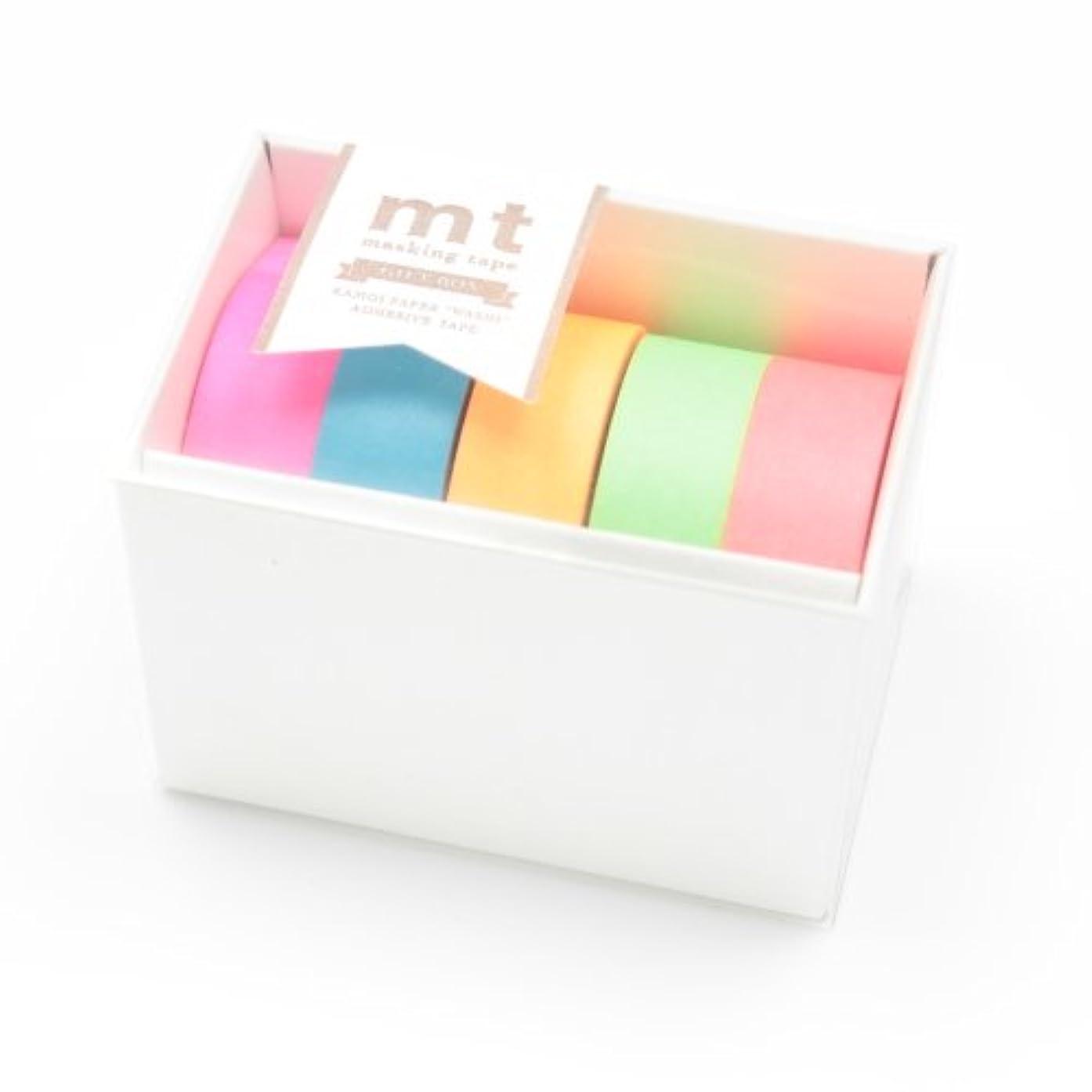 MT Kamoi Kakoshi Masking Tape Gift Box Neon, 15mm Width, 10mm Roll in 5 Pieces (MT05G002)