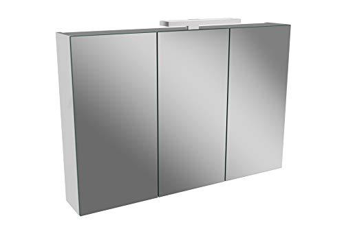 Lanzet LED Spiegelschrank L2 / Badschrank mit LED Leuchte/Maße (B x H x T): ca. 90 x 68 x 14,5 cm/Möbel fürs Bad oder WC/Badezimmer Schrank mit 3 Türen/Korpus: Weiß Glanz/Front: Spiegel
