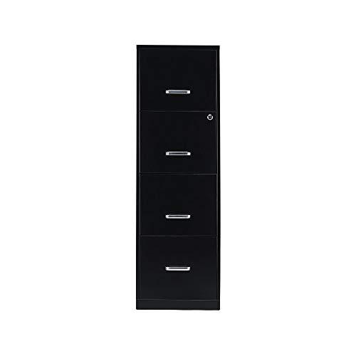 Staples 2806660 4-Drawer Vertical File Cabinet Locking Letter Black 18-Inch D (52152)