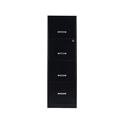 Staples 2806660 4-Drawer Vertical File Cabinet Locking Letter Black 18-Inch D (52152)