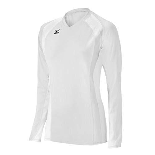 Mizuno Damen Volleyball Techno Volley V Langarm Jersey, Weiß, XXS