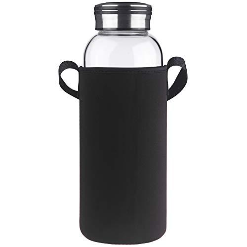 Cleesmil Trinkflasche Glas Wasserflasche mit Neoprenhülle Glasflasche 1500 ml /1.5 L (Schwarz)