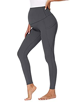 Glampunch Women's Maternity Yoga Pants Over The Belly Stretchy Lounge Active Workout Leggings with Pockets(Grey-Long Length,L)
