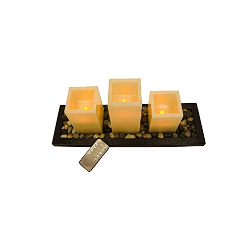 Flameless Led Square Ivory Candle Gift Set of 3 Pillar Candle Candles, Led Tea Light Set with Decorative Pebbles Rocks and Wood Tray, with Remote Timer, Gift for Home, Wedding, Event Party