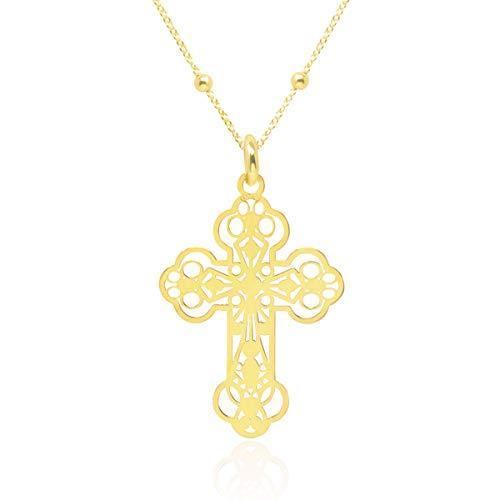 Wanda zilveren halsketting hanger kruis dames 925 sterling zilver verguld met 45 cm ketting in geschenkdoos